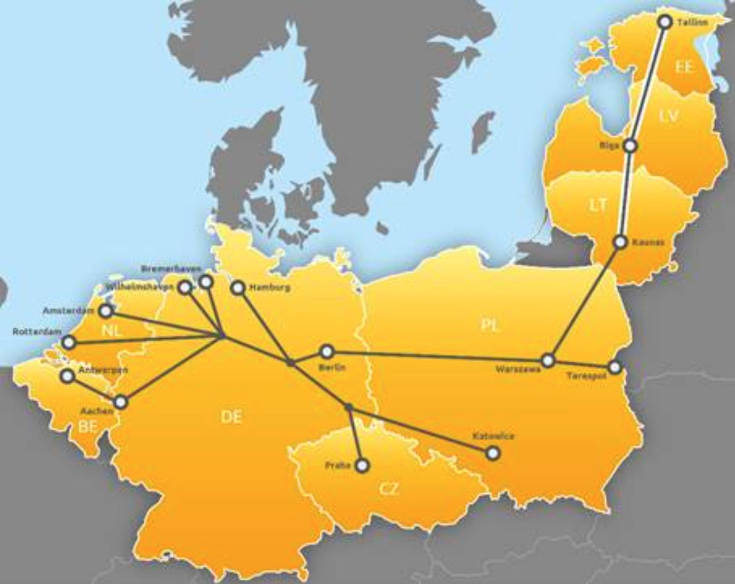 北海-波罗的海走廊地图